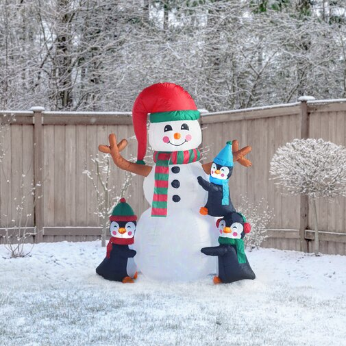 6' Inflatable Penguins Building Snowman