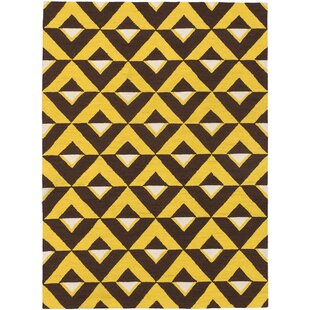 Affordable Independence Hand-Hooked Dark Brown/Gold Area Rug By Ivy Bronx