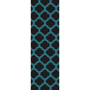 Derby Black/Aqua Indoor/Outdoor Area Rug By Ivy Bronx