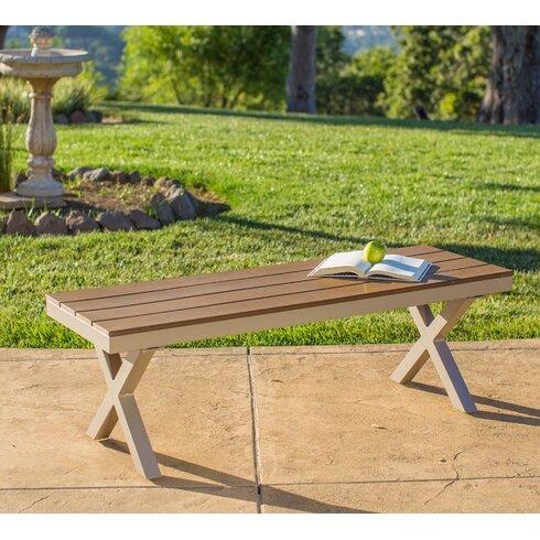 Cade Outdoor Aluminum And Poly Wood Garden Bench
