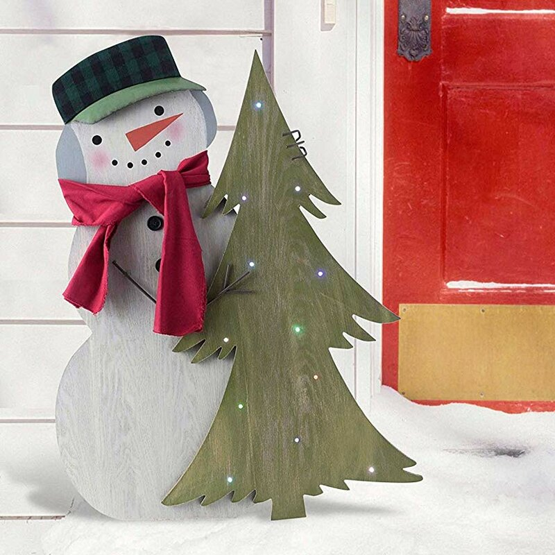 lightup indooroutdoor standing snowman decor with hat and scarf - Outdoor Light Up Christmas Decorations