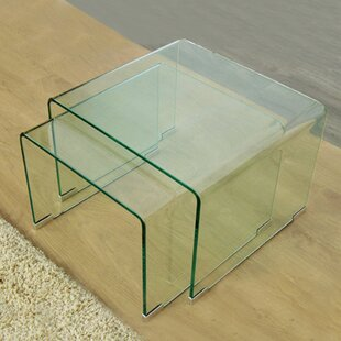 2 Piece Clear Bent Glass Nesting Tables by Fab Glass and Mirror