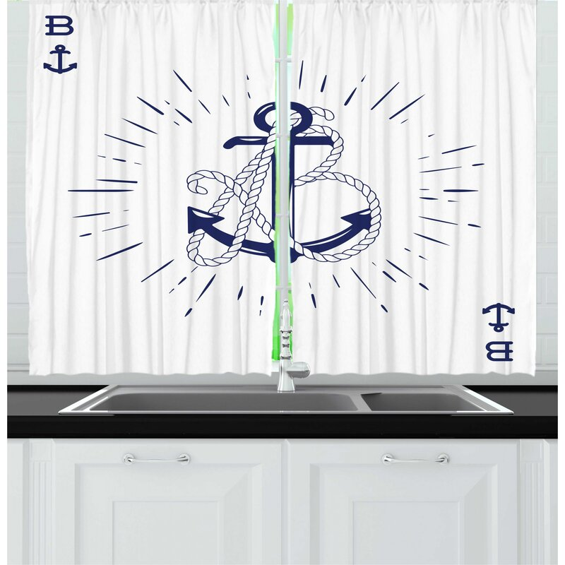 East Urban Home 2 Piece Vintage Nautical Tattoo Vintage Anchor And Rope Starbursts Cardinal Directions Print Kitchen Curtain Set Wayfair