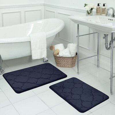 Clapton Memory Foam Bath Rug George Oliver Size 36 L X 24 W Color Blue Gray Shefinds