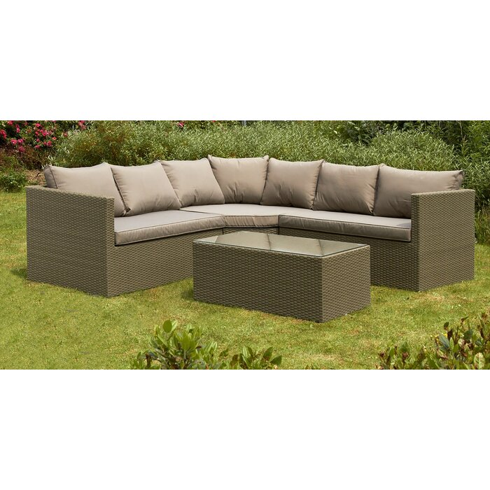 new product 0109f 62099 Godeus 5 Seater Rattan Corner Sofa Set