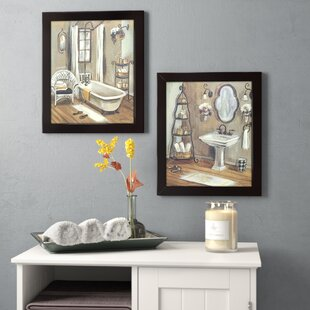 U0027Bathroomu0027 2 Piece Framed Painting Print Set On Canvas