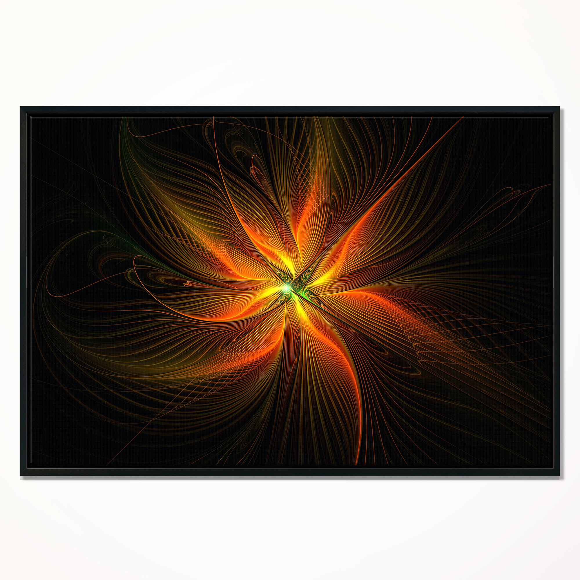 East Urban Home Shiny Golden Yellow Fractal Flower On Black Framed Graphic Art Print On Wrapped Canvas