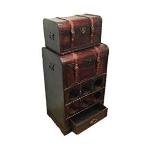 Haledon 2 Piece Wooden Rack Bar Set with Wine Storage