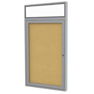 Ghent 1 Door Enclosed Natural Cork Bulletin Board with Satin Headliner Frame by Ghent