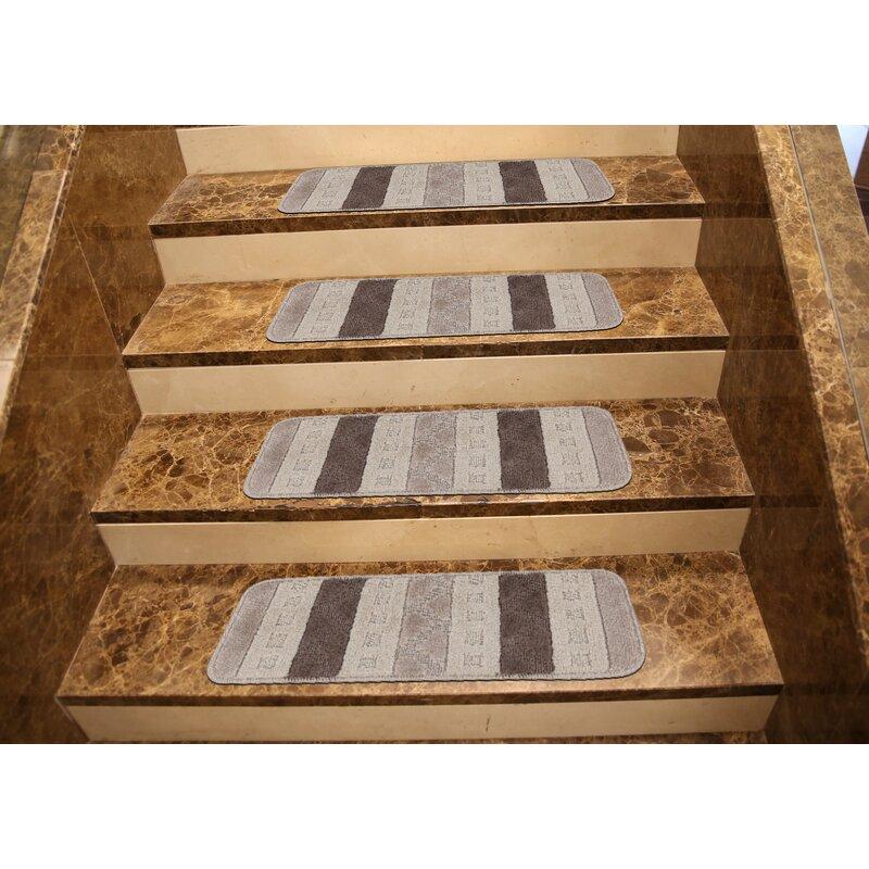 Carreras Striped Gray Stair Tread