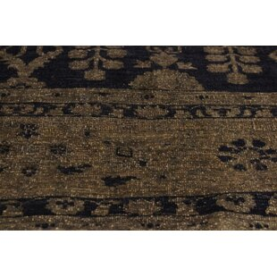One-of-a-Kind Abree Distressed Over Dyed Hand-Knotted Wool Blue/Charcoal Area Rug Isabelline