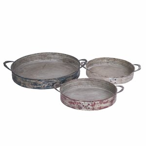 Nested Round Rivet 3 Piece Serving Tray Set