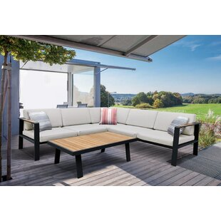 Wrought Studio Lucian 4 Piece Teak Sectional Seating Group Set with Cushions
