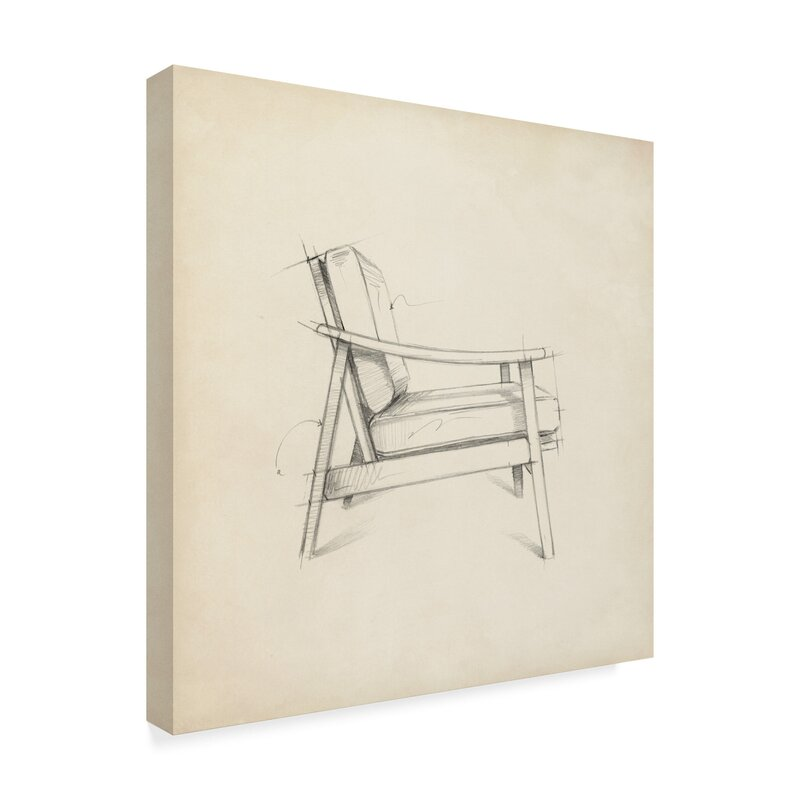 'Mid Century Furniture III' Drawing Print on Wrapped Canvas