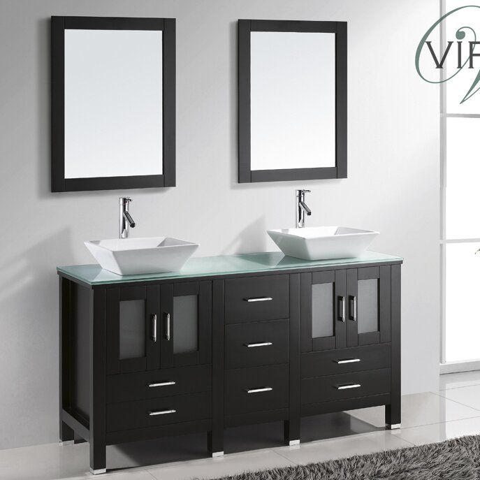 "Bathroom Vanity Glass Top virtu usa brentford series 60"" double bathroom vanity set with"