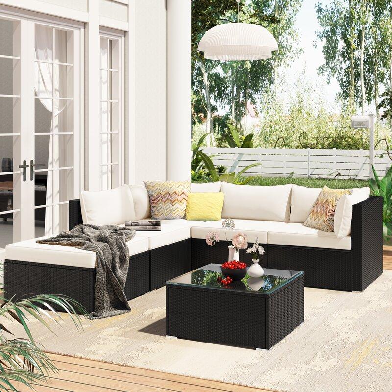 Latitude Run® 6-Piece Patio Furniture Set Corner Sofa Set With