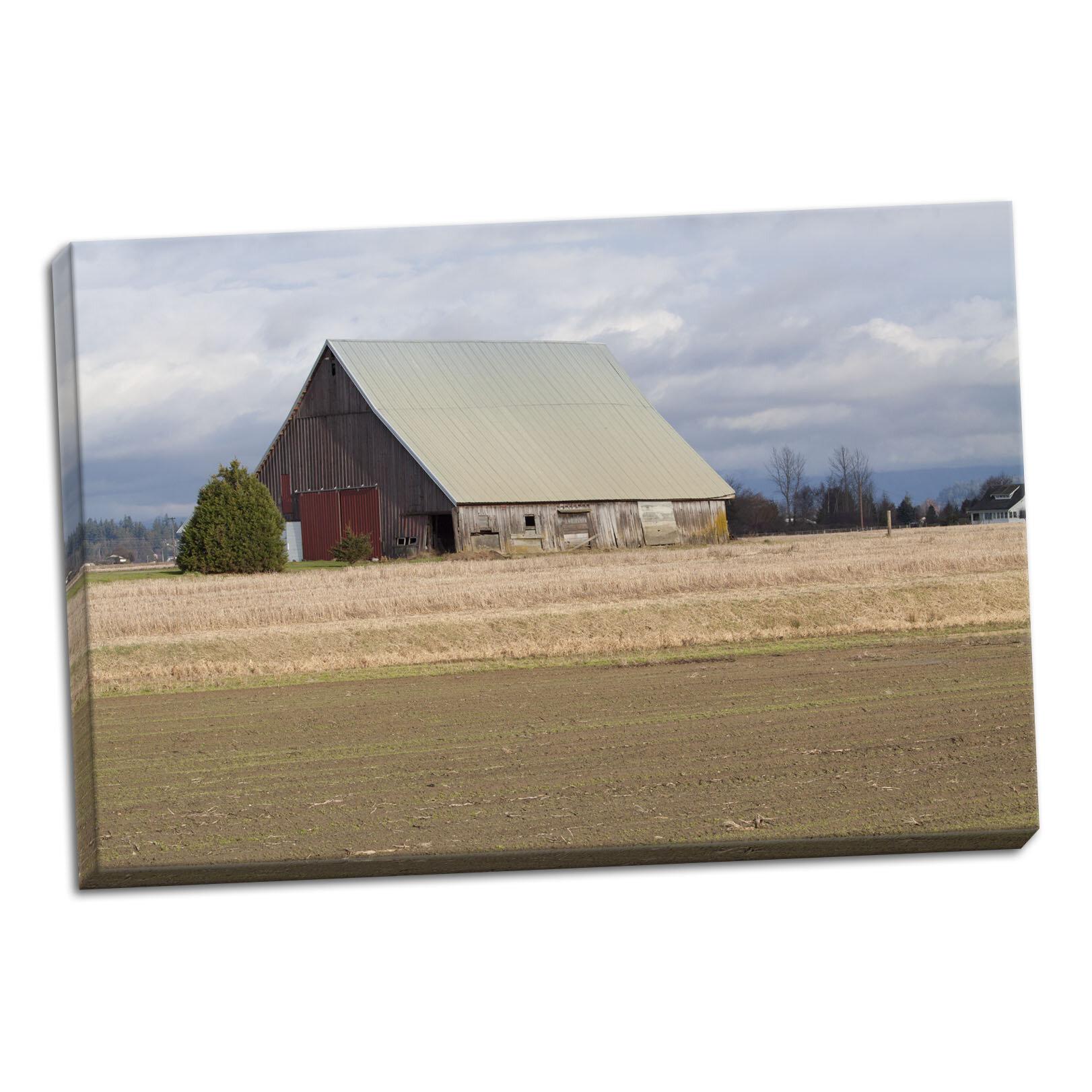 August Grove U0027Red Door Barnu0027 Photographic Print On Wrapped Canvas | Wayfair