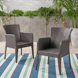 Eliason Outdoor Wicker Patio Dining Chair (Set Of 2) by Latitude Run Top Reviews