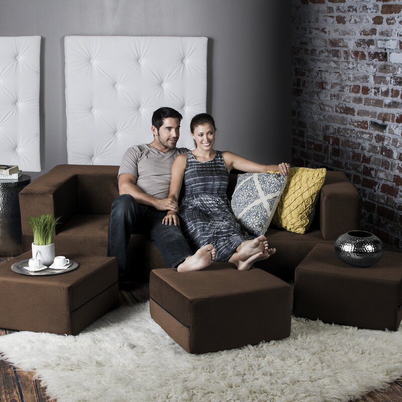 Eugene Convertible Sleeper Sofa With Ottomans