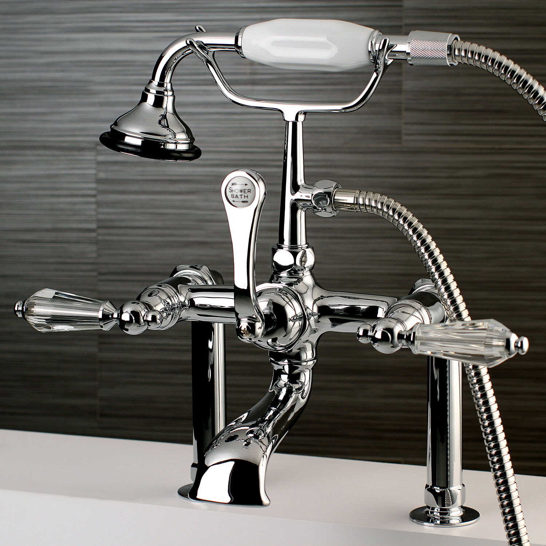 Kingston Brass Wilshire Triple Handle Deck Mount Clawfoot Tub Faucet ...