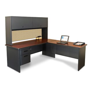 Crivello Return and Drawers L-Shape Executive Desk with Hutch