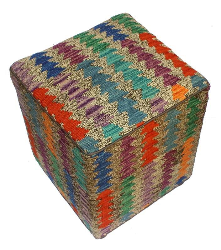 World Menagerie Mcgregor Kilim Cube Ottoman Wayfair