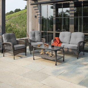 Juniper 4 Piece Sectional Seating Group with Cushions