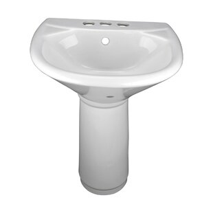 Child Sized Vitreous China 16 Pedestal Bathroom Sink and Overflow by The Renovators Supply Inc.