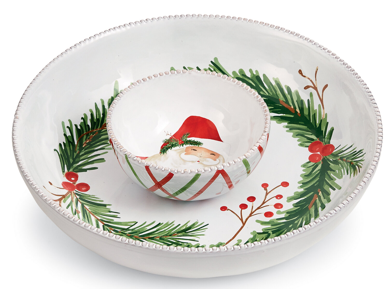 Santa Mud Pie Christmas Pedestal Dip Sets