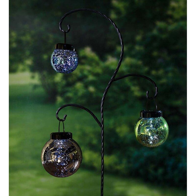 Plow & Hearth Hanging Mercury Glass Solar Lanterns 3 Piece Garden ...