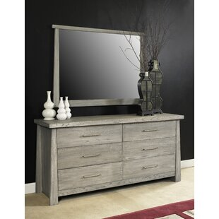 Inexpensive Emery 6 Drawer Double Dresser with Mirror by Loon Peak