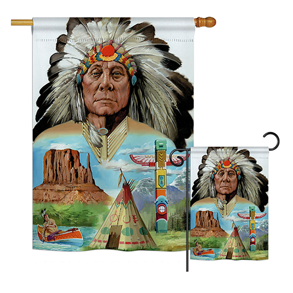 Breeze Decor Native American Americana Patriotic Impressions 2 Sided Polyester 2 Piece Flag Set Wayfair