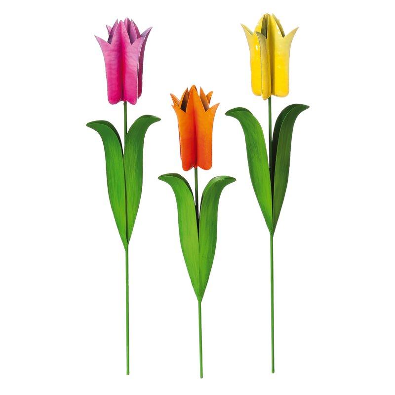 Evergreen Enterprises, Inc 3 Piece Tulip Metal Garden Stake Set ...