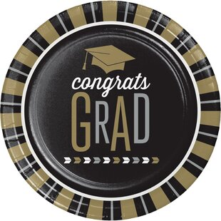 Silver and Gold Glitz Graduation Paper Dessert Plate (Set of 24)