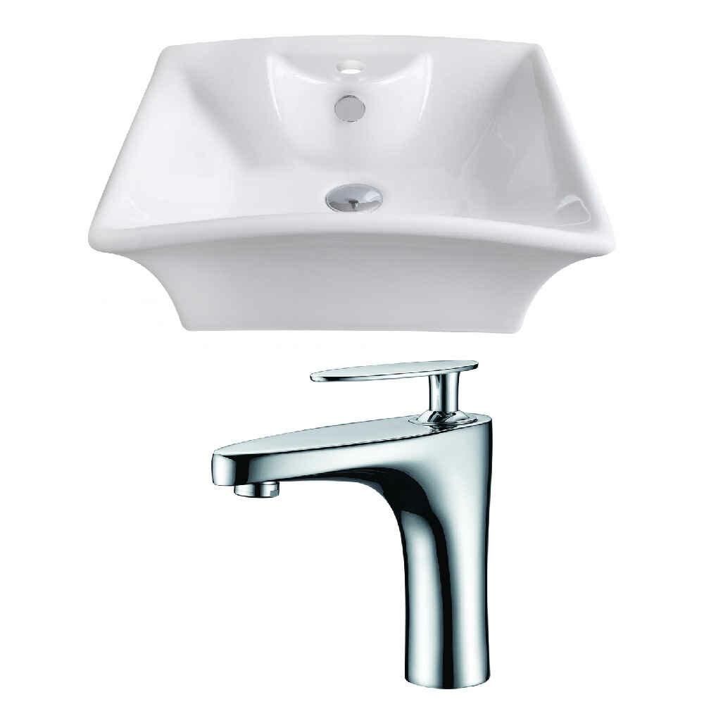 Royalpurplebathkitchen Above Counter Ceramic Rectangular Vessel Bathroom Sink With Faucet And Overflow