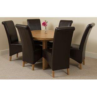 Soejima Solid Oak Dining Set With 6 Montana Chairs By Rosalind Wheeler