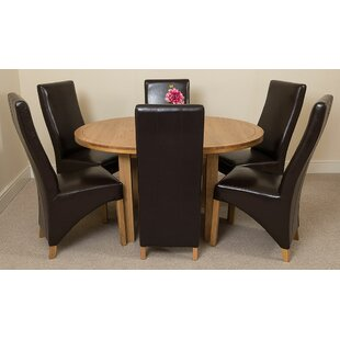 Soejima Solid Oak Dining Set With 6 Lola Chairs By Rosalind Wheeler