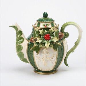 Emerald Holday Ceramic Teapot