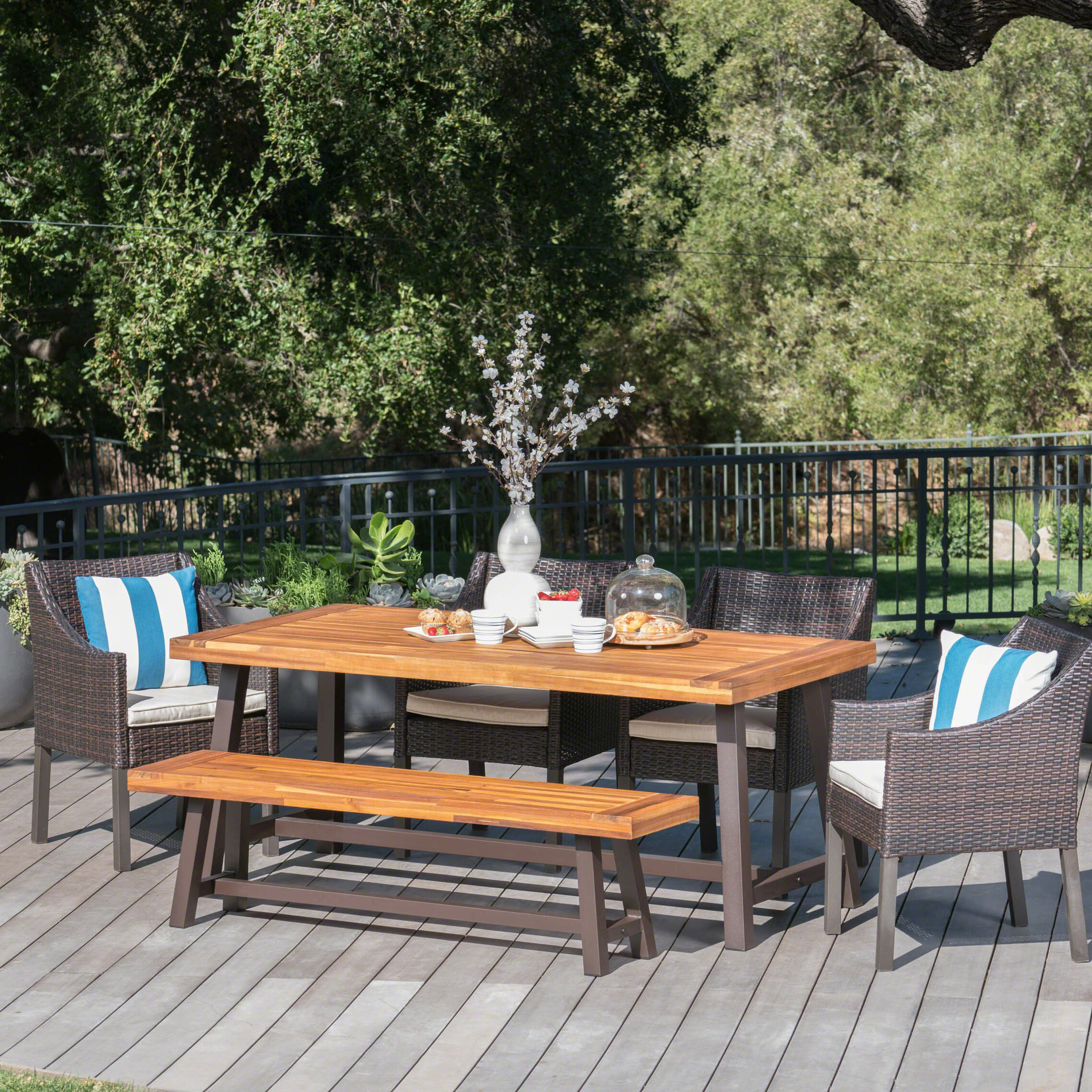Brayden Studio Belterra Wicker And Wood Outdoor 6 Piece Dining Set With Cushion Reviews Wayfair