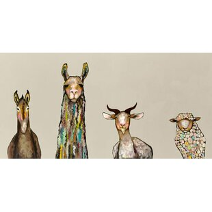 U0027Donkey, Llama, Goat, Sheepu0027 Acrylic Painting Print On Canvas In Cream