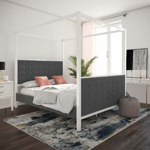 Bowery Queen Upholstered Canopy Bed
