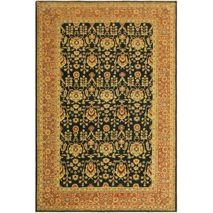 One-of-a-Kind Graysville Hand-Knotted 9'1 x 12' Wool Black/Light Red Area Rug Isabelline