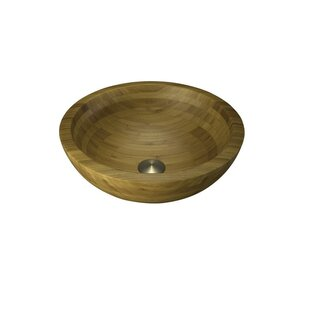 Above Counter Bamboo Wood Circular Vessel Bathroom Sink Lenova