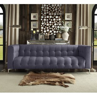 Sandi Linen Biscuit Tufted Silvertone Y-leg Sofa by Rosdorf Park Herry Up