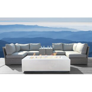 Simmerman 9 Piece Rattan Sectional Seating Group