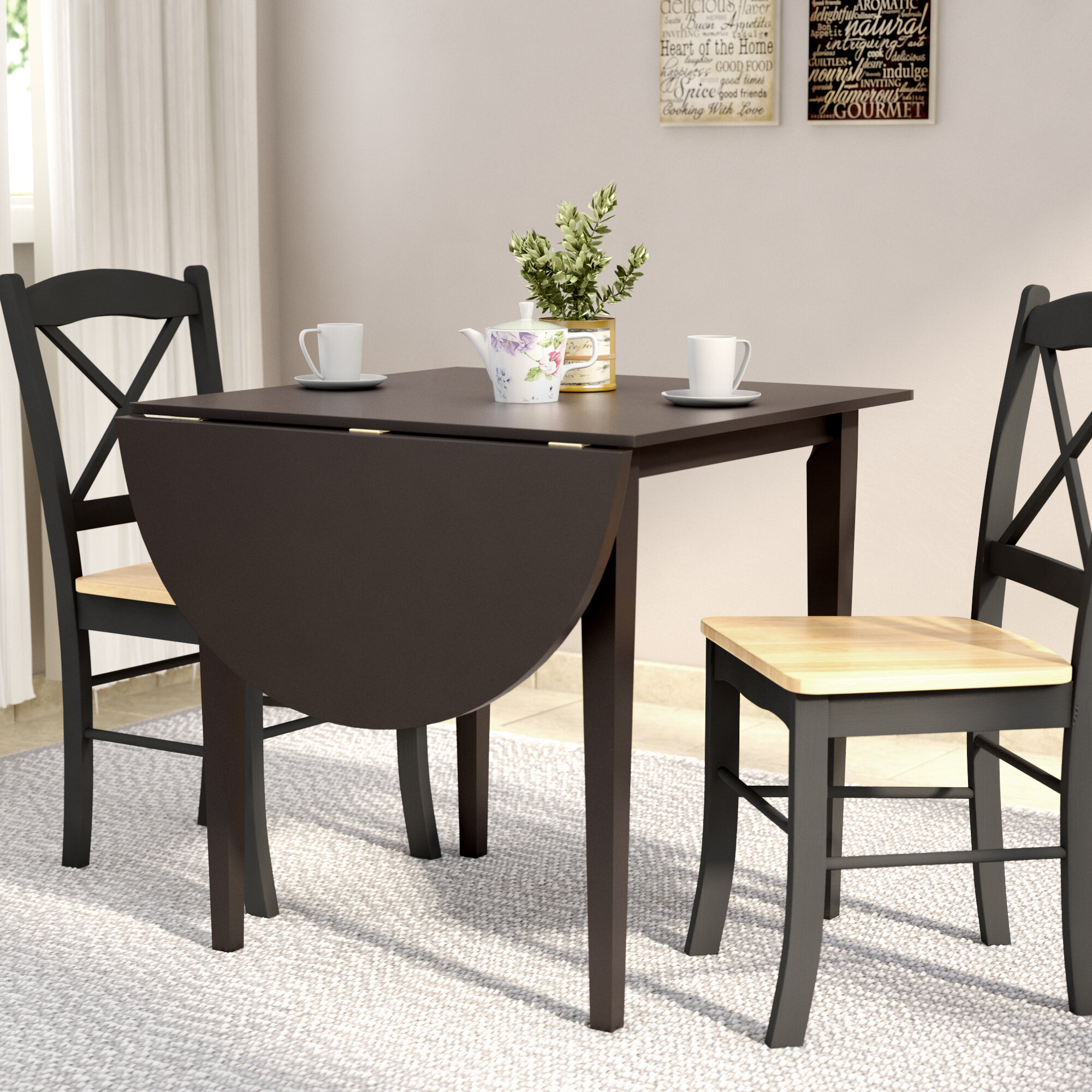 Charlton Home® Castellon Drop Leaf Rubber Solid Wood Dining Table