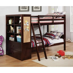 Moraine Twin over Twin Bunk Bed with Drawers and Bookcase