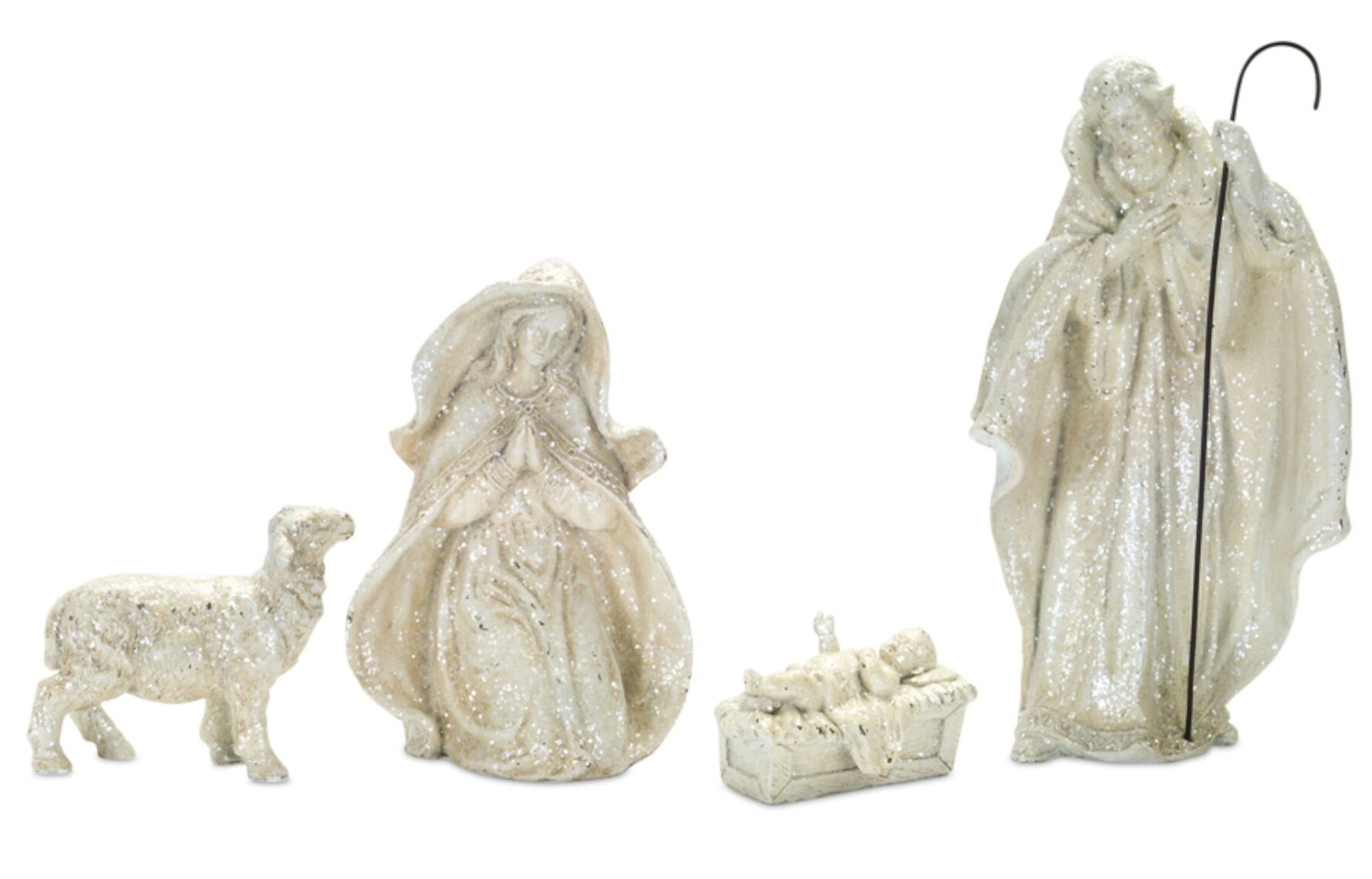 """Nativity Christmas Scene in Metallic Gold and Silver 10.5/""""H"""