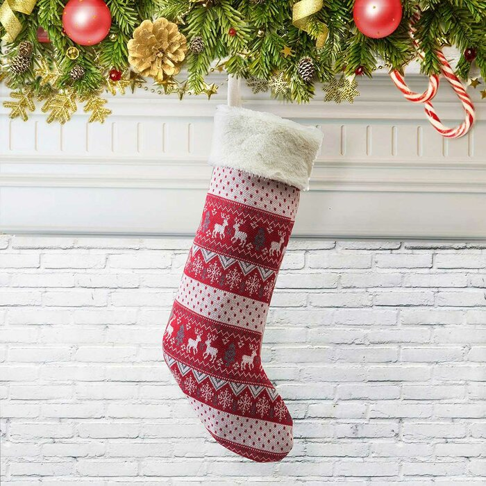 Knitted Christmas Stockings.Farmhouse Knitted Christmas Stocking