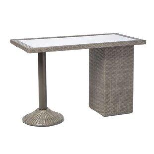 Find Kawamoto All Weather Wicker Gathering Bar Table with Wine Shelf Best Deals